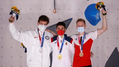 金メダルのアルベルト・ヒネスロペス、銀メダルのナサニエル・コールマン、銅メダルのヤコプ・シューベルト(ロイター)