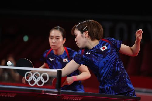 卓球女子団体決勝 日本-中国 第1試合 石川佳純と平野美宇(ロイター)
