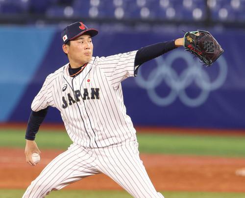 日本対韓国 9回に日本4番手で登板し最後を締めた栗林(撮影・河野匠)