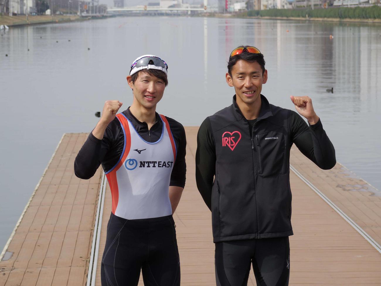 ボートの東京五輪アジア・オセアニア大陸予選男子ダブルスカル代表に決まった西村(右)と古田のペア(撮影・奥岡幹浩)