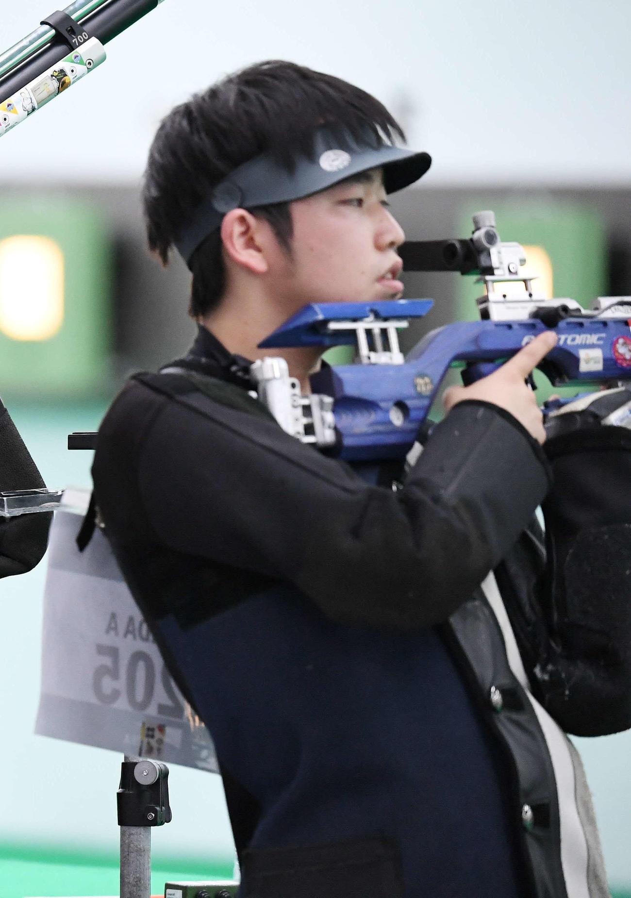 18年8月、アジア大会・射撃10メートルエアライフル混合予選に臨む島田
