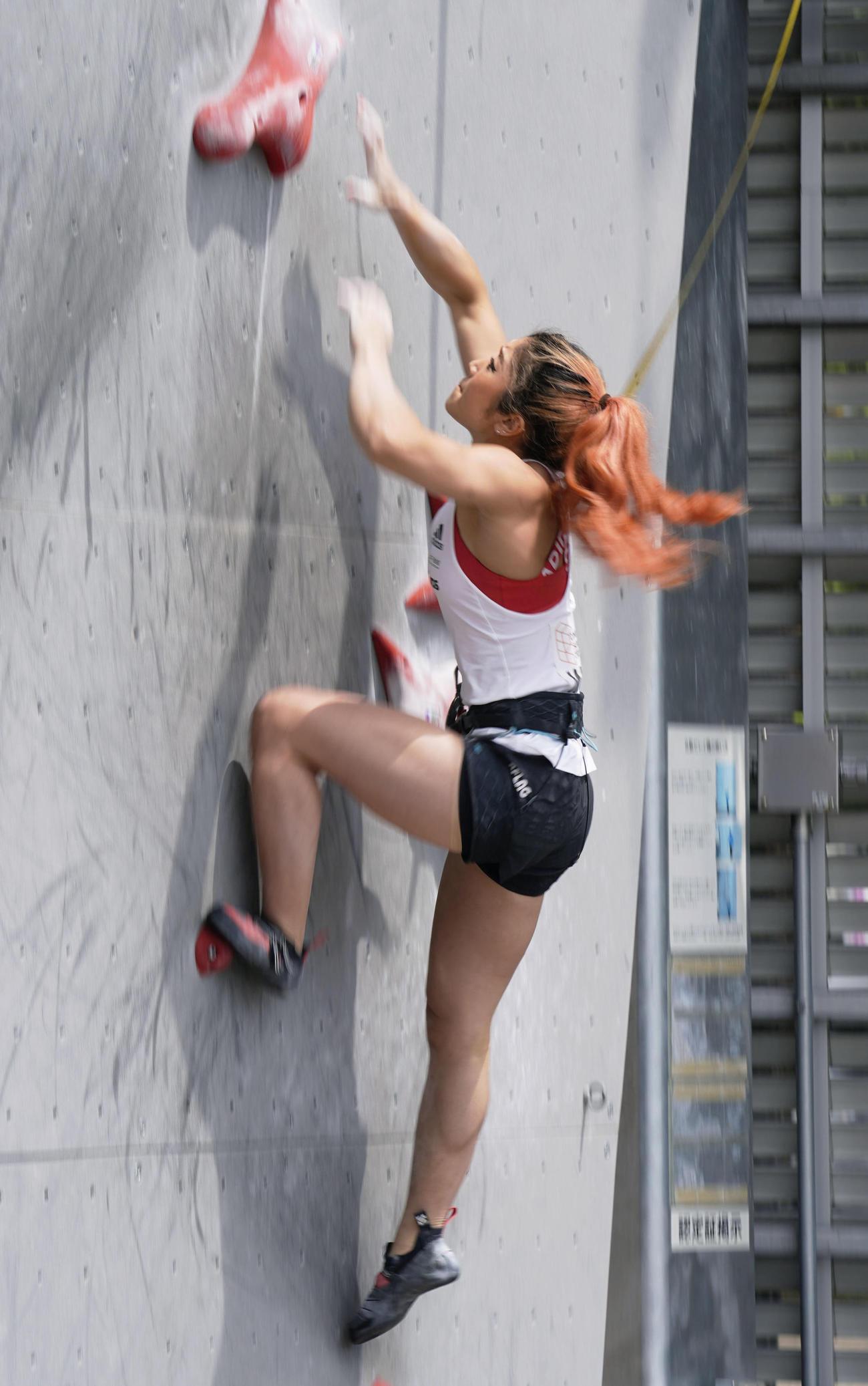 スピードの大会で日本女子初の7秒台を出した野中生萌(共同)