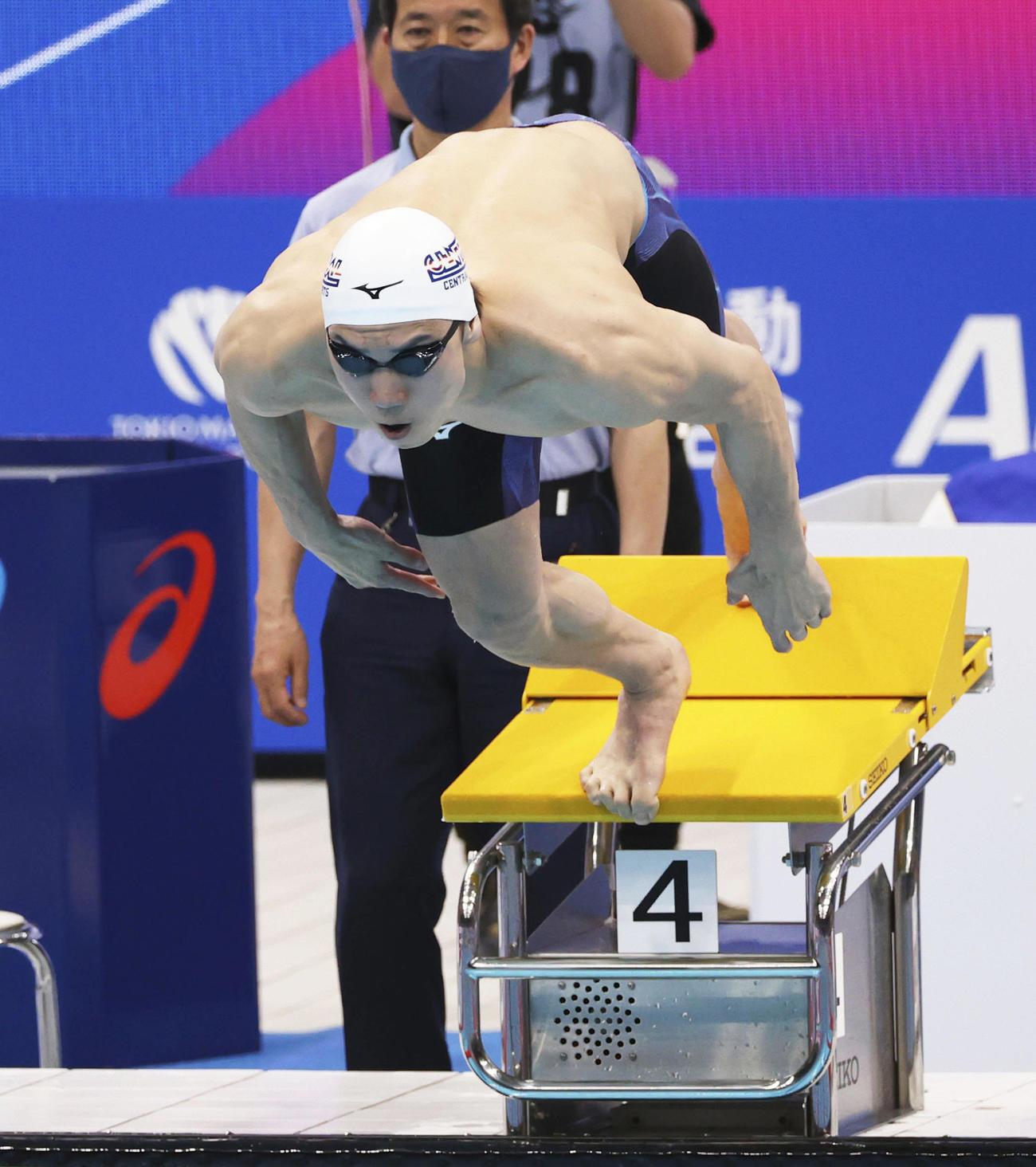 男子200メートル自由形決勝 優勝した松元のスタート(代表撮影)