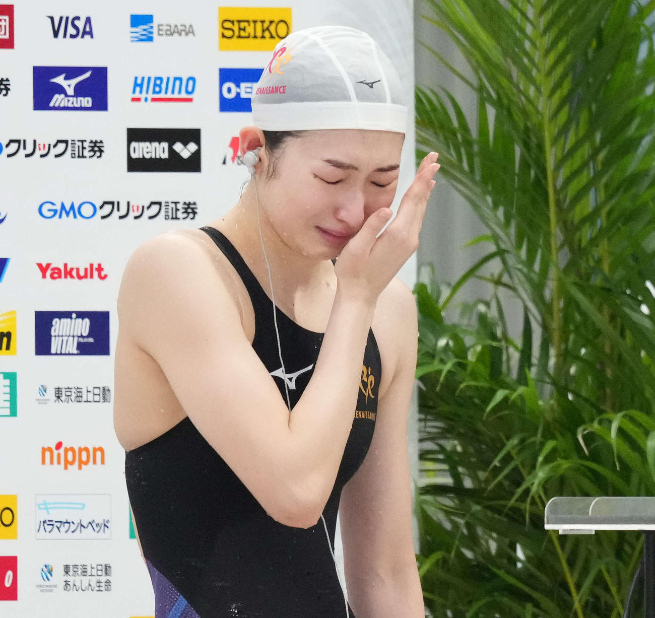 日本選手権女子100メートルバタフライで優勝、五輪出場も内定し涙する池江璃花子(2021年4月4日)