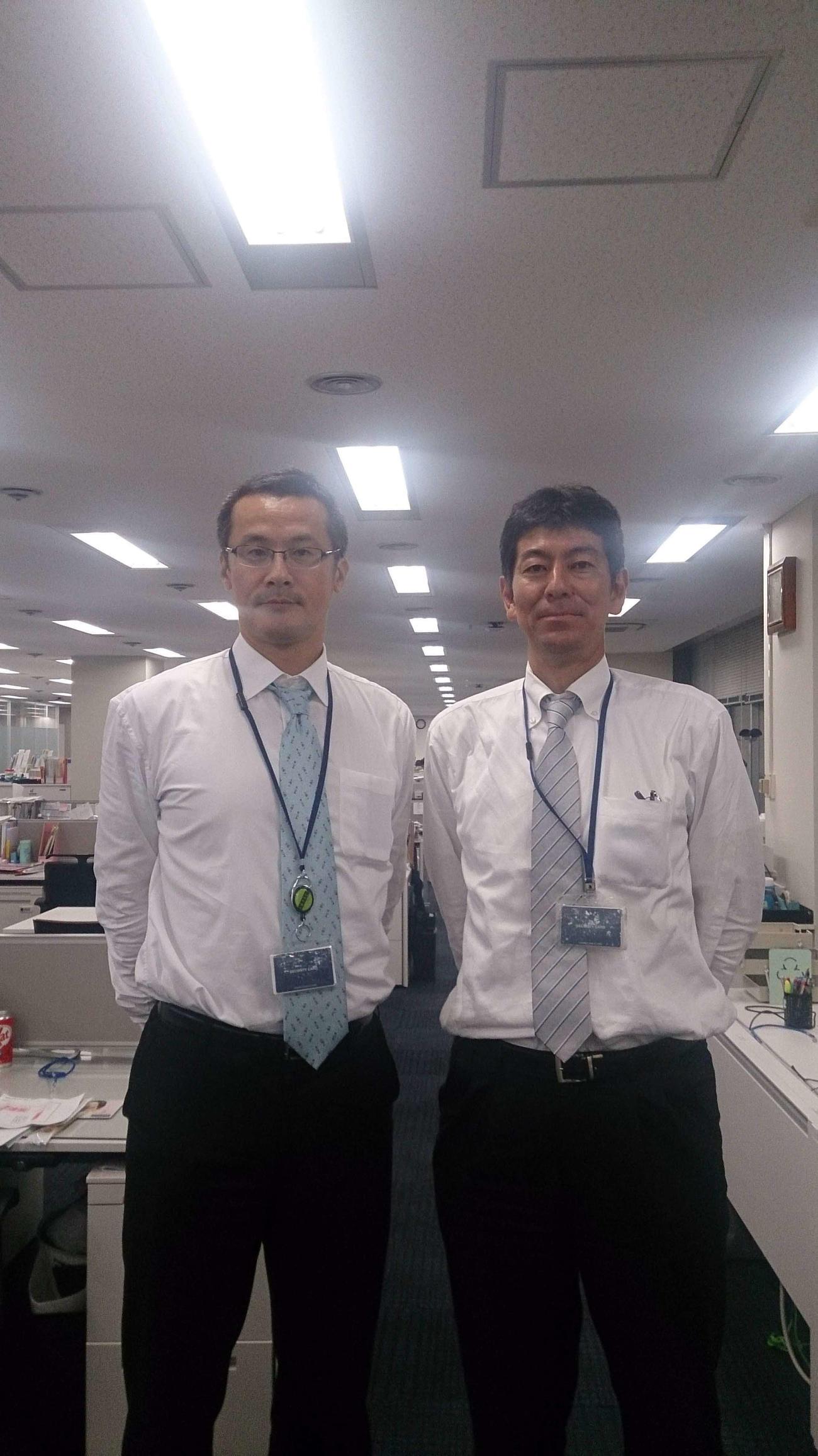 旧新日鉄住金(現在の日本製鉄)で中垣内監督(左)と同僚だった勝本靖英さん
