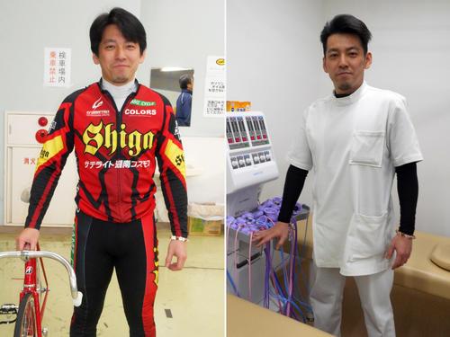 レース前(左)と白衣姿の山田康博(撮影・岡田晋)