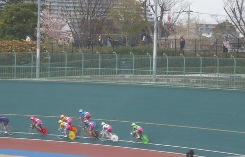 競輪場の柵の外からレースを観戦する人々