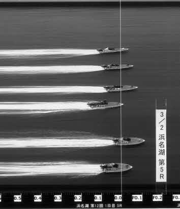浜名湖5Rのスリット写真。全艇フライングで、峰竜太(上から3人目)ら4人が非常識なフライングを犯した