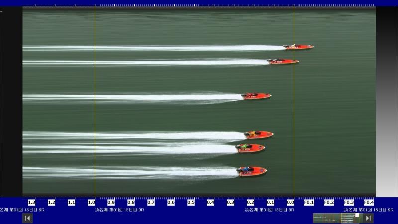 浜名湖9Rのスリット写真。1枠石塚裕介と2枠佐藤航がフライング