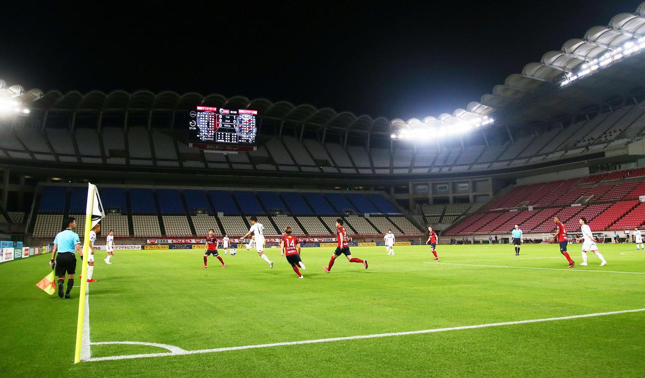 8日、無観客で鹿島対札幌戦が行われたカシマスタジアム