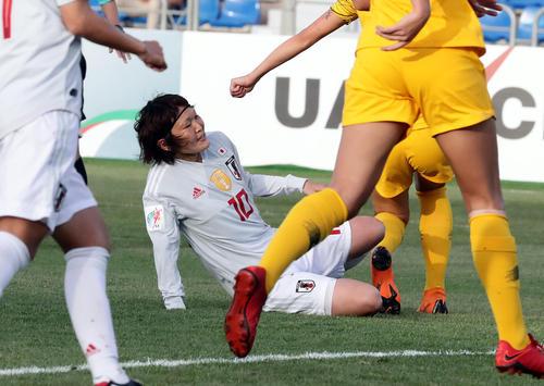 日本対オーストラリア 後半、先制ゴールを決める阪口夢穂(撮影・浅見桂子)
