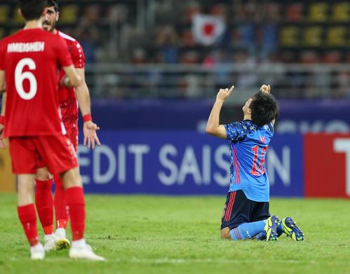 U-23日本対U-23シリア 前半、同点ゴールを決めて喜ぶ相馬(撮影・前田充)