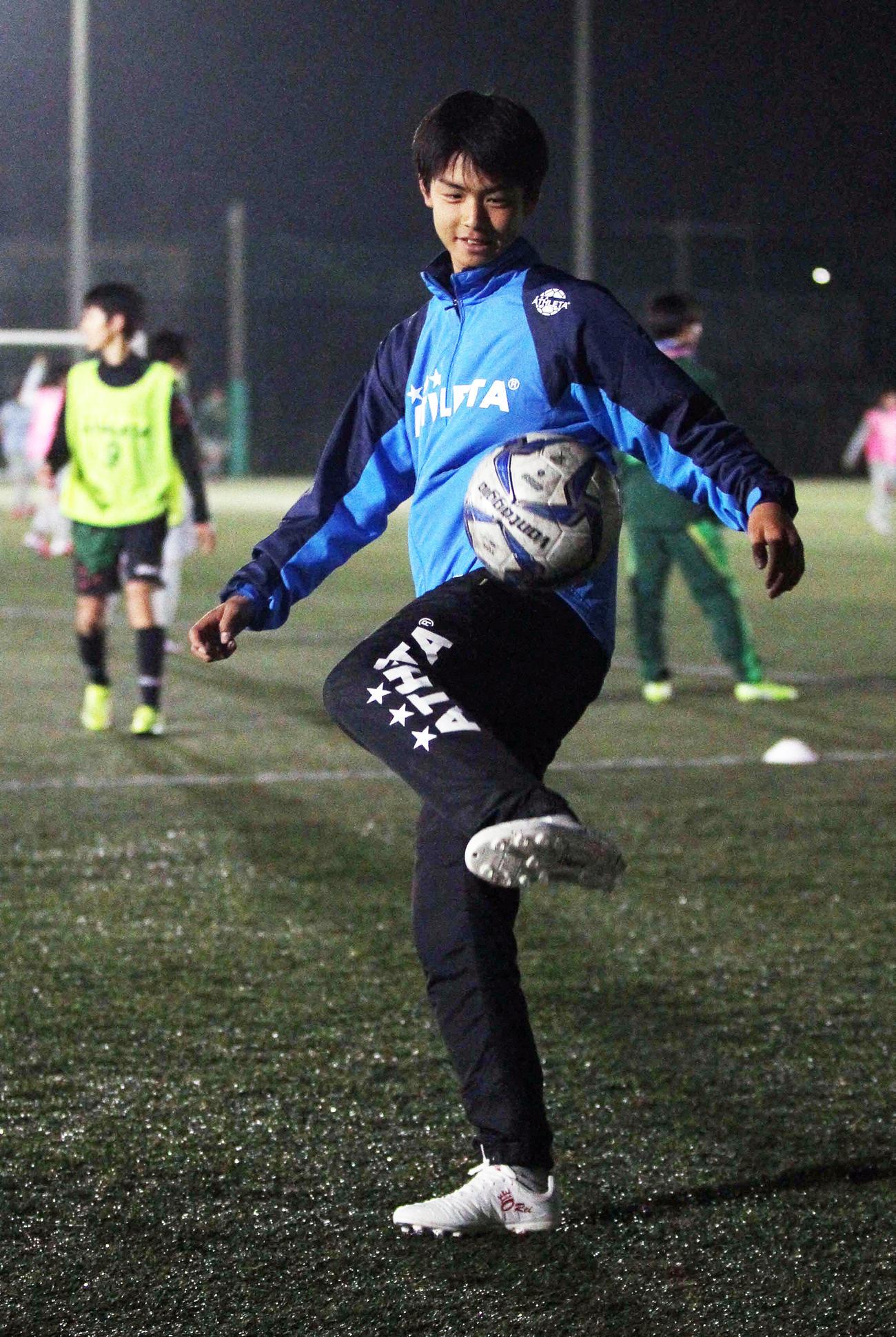 U-15日本代表候補合宿で悔いないプレーを誓うMF広井