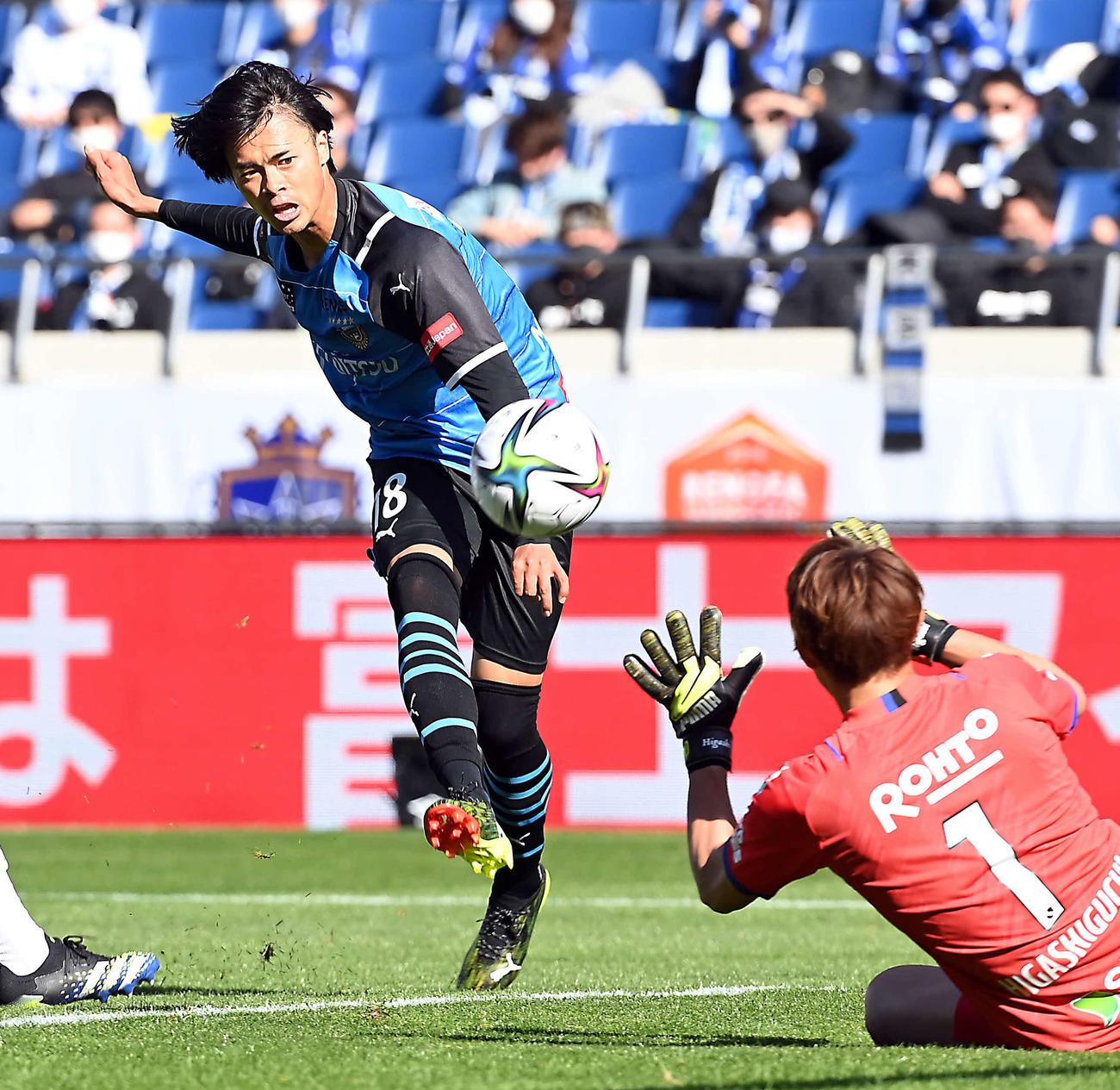 20日、ゼロックス・スーパー杯G大阪戦でゴールを決める川崎F・FW三笘