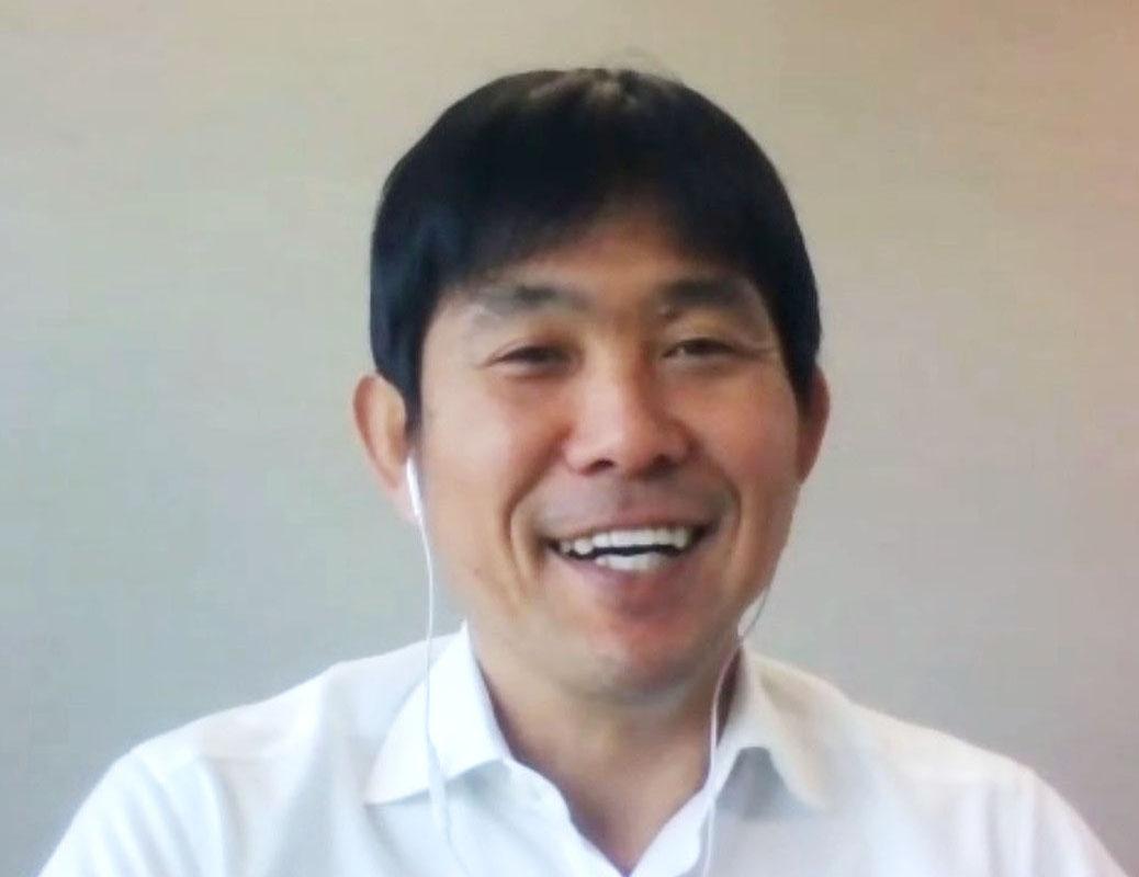 オンライン取材に応じるサッカー日本代表の森保監督(共同)