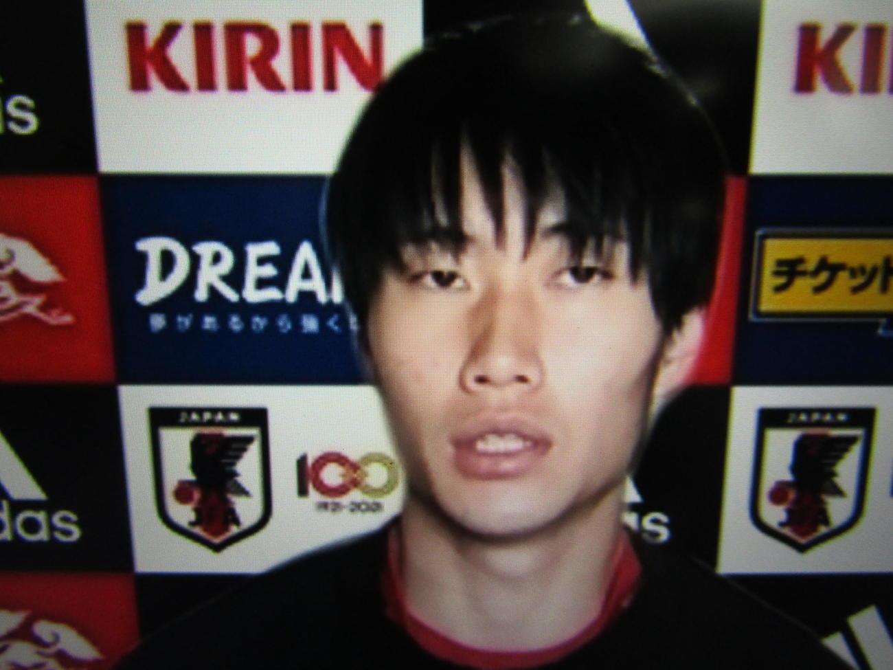 オンライン取材に応じる日本代表MF鎌田大地