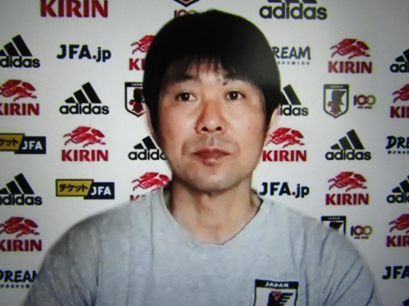 オンライン取材に応じる日本代表森保一監督