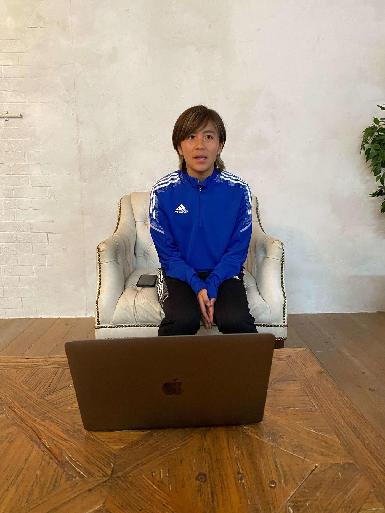 東京五輪に臨む「なでしこジャパン」のメンバーに選出され、日刊スポーツのオンライン取材に応じる岩渕