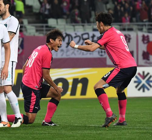 C大阪FWヤン・ドンヒョン(左)が頭で決めて同点、C大阪FW杉本健勇と喜ぶ(撮影・奥田泰也)