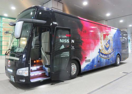 横浜の新チームバス(撮影・松尾幸之介)