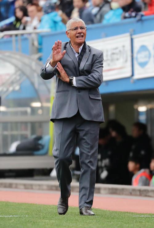 解任されることが確実になった、横浜FCのタヴァレス監督(19年3月23日撮影)