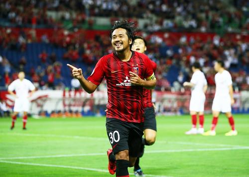 浦和対上海上港 前半、ゴールを決め笑顔を見せる浦和FW興梠(撮影・足立雅史)