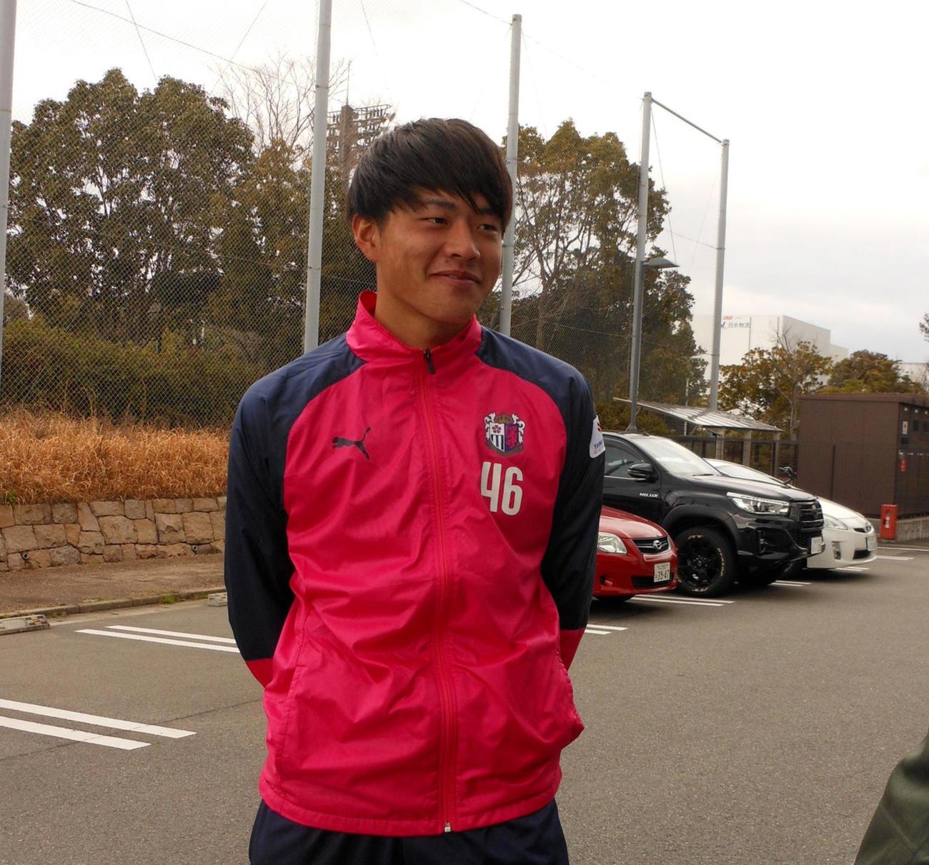 C大阪の新人DF田平は、有力視されたプロデビュー戦が延期となっても表情は明るい