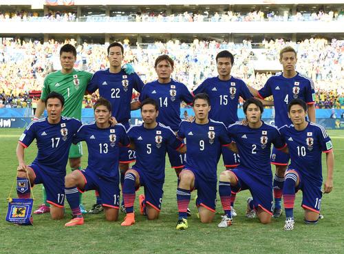 14年、ブラジルW杯 コロンビア対日本 前列左から4人目が岡崎