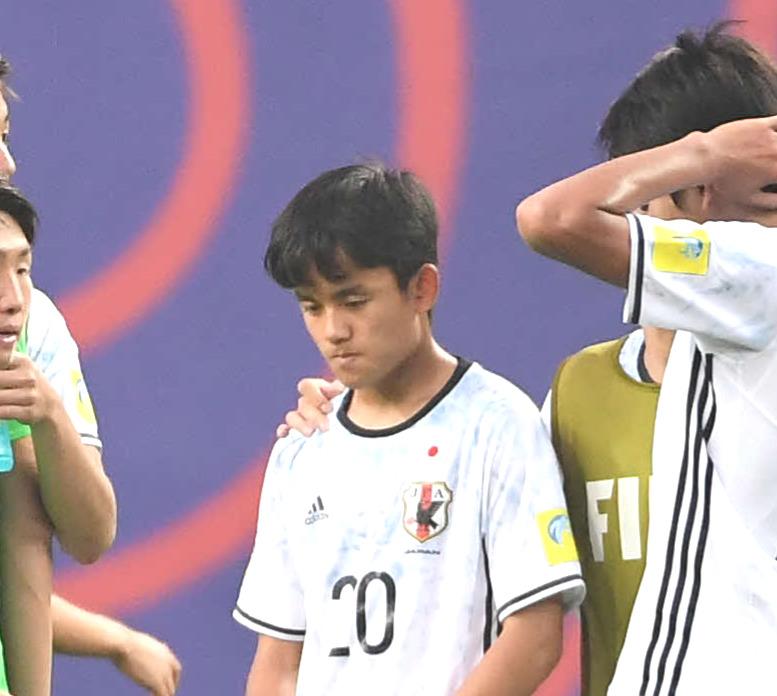 U-20W杯韓国大会 日本対ベネズエラ 敗れて肩を落とす久保建英(2017年5月30日撮影)