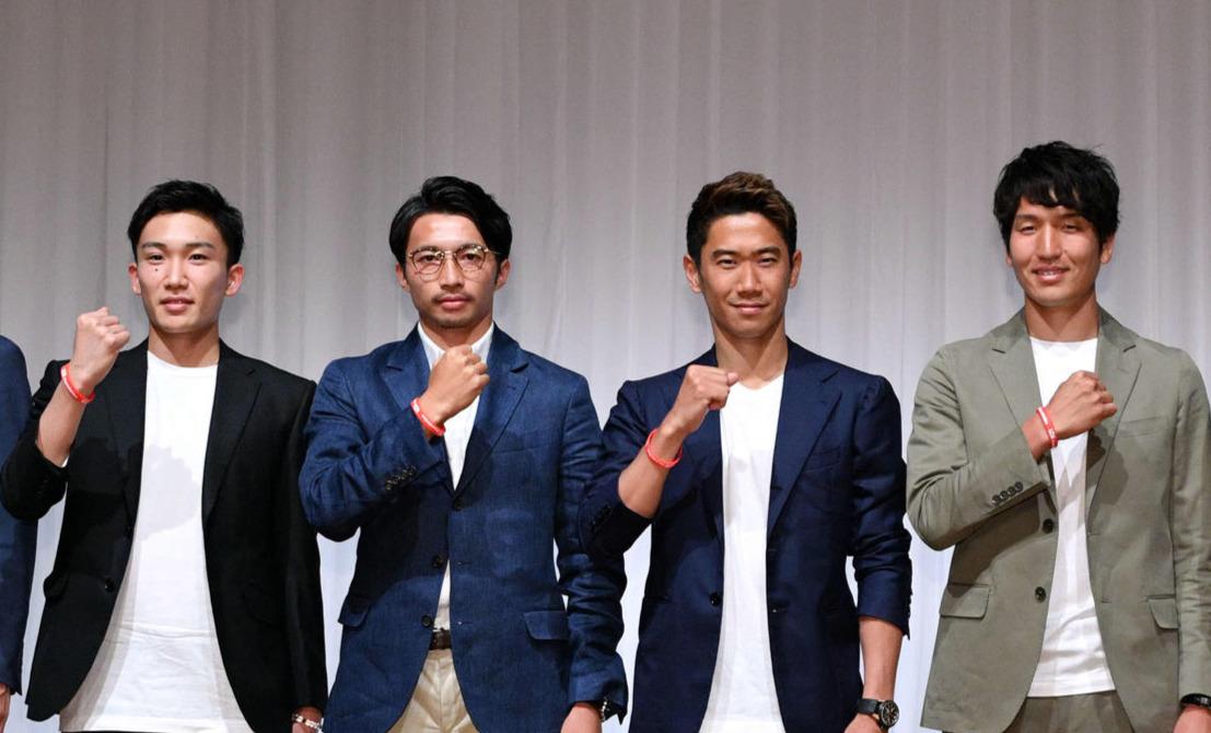 左から桃田、柴崎、香川、原口(2019年5月30日撮影)