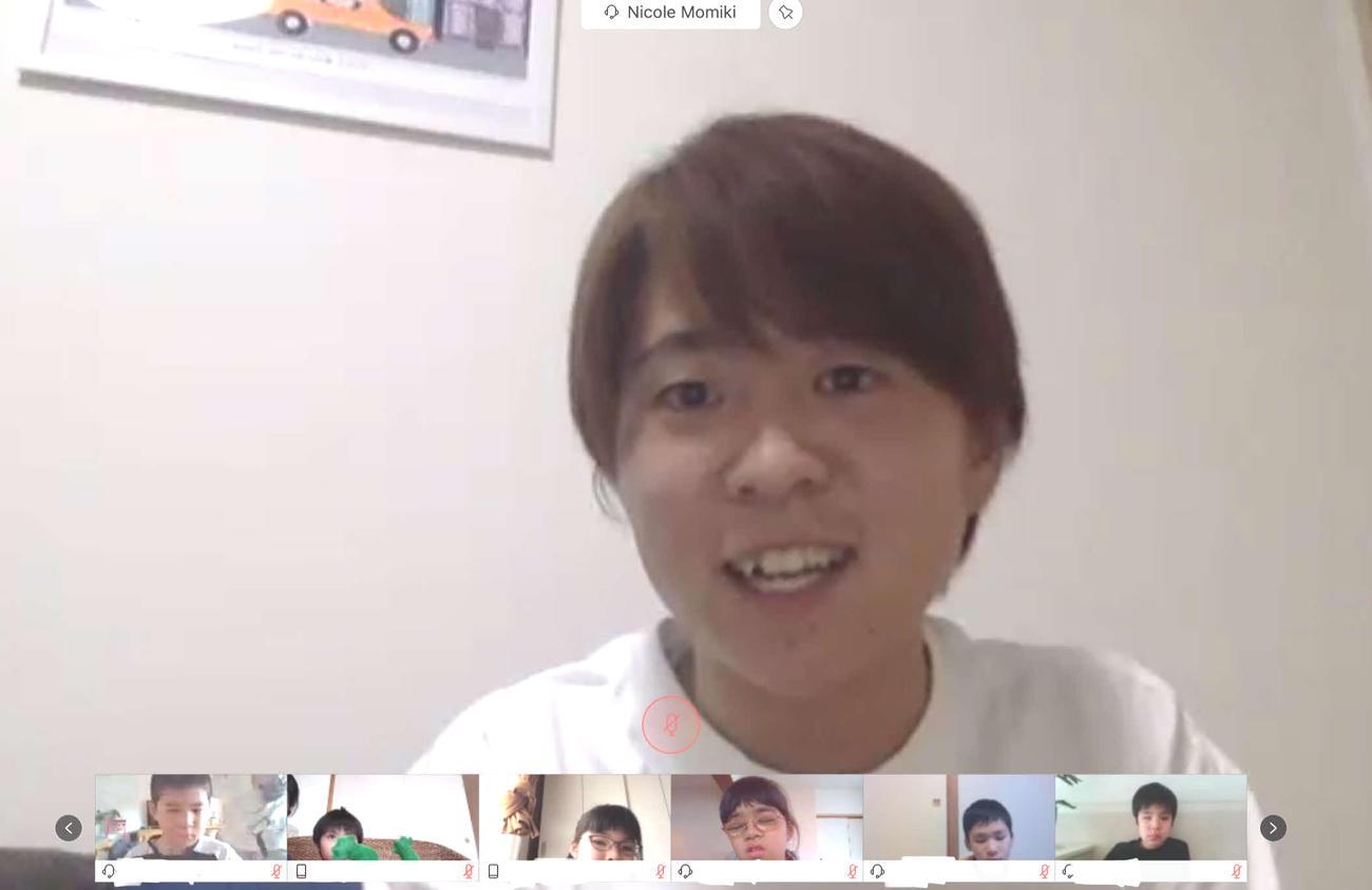 「第5回オンラインブラサカ親子広場」に出演したレインのMF籾木(日本ブラインドサッカー協会提供、一部加工)