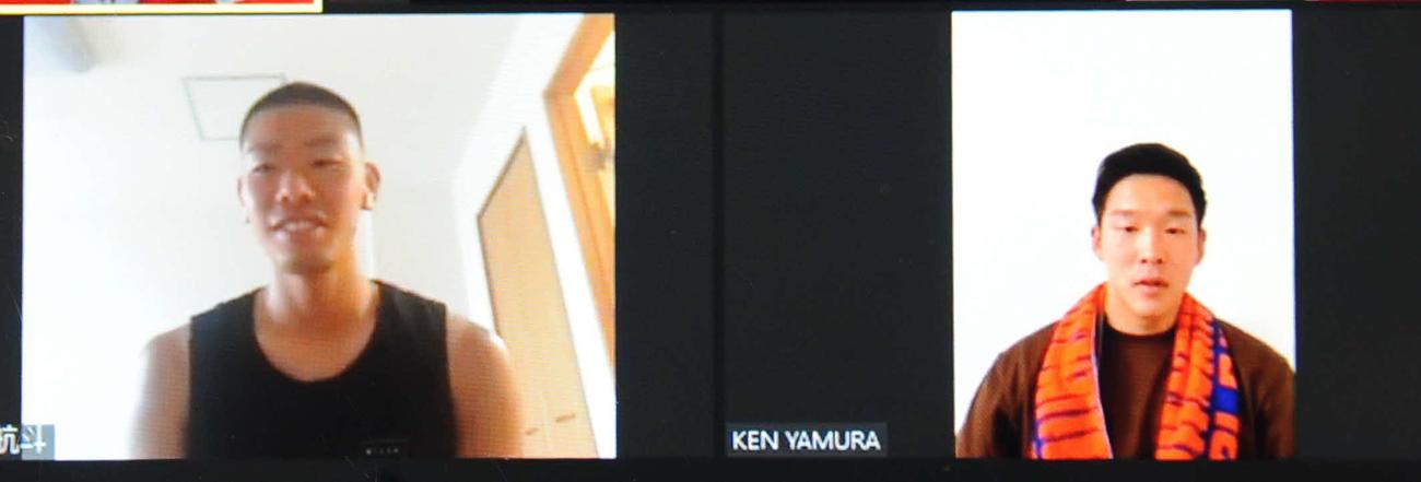 オンラインスタジアムに出演するGK阿部(左)とFW矢村(右)