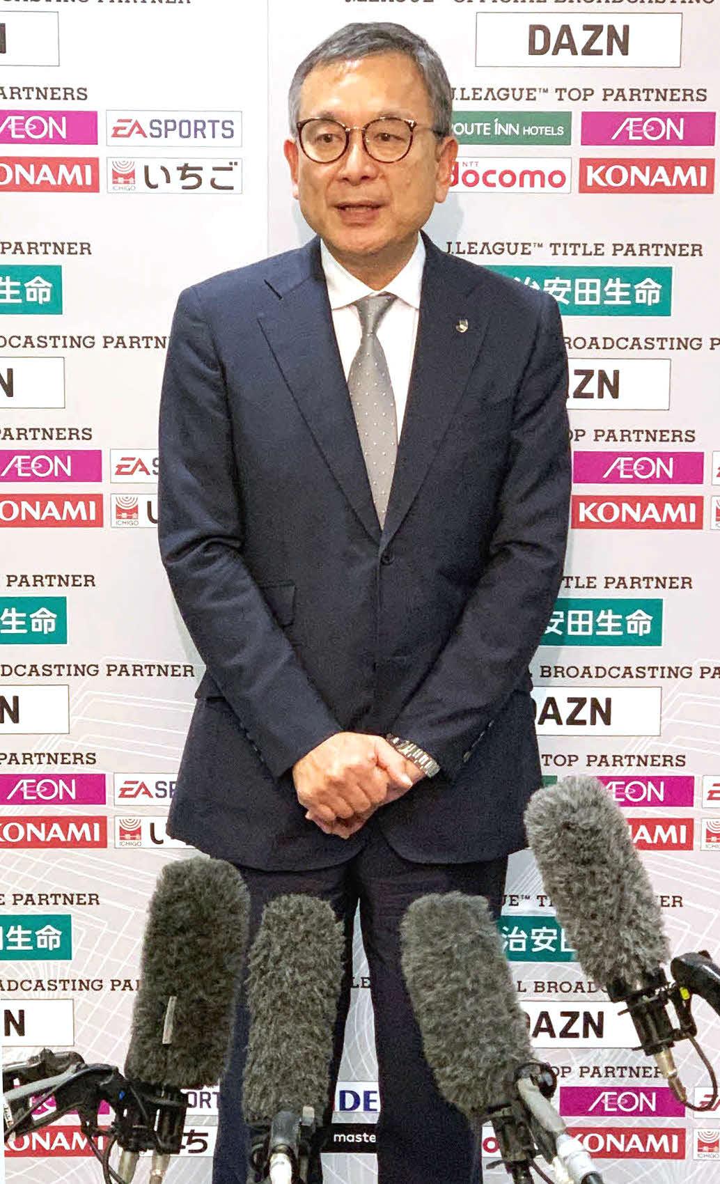 Jリーグの村井チェアマン(20年3月9日撮影)