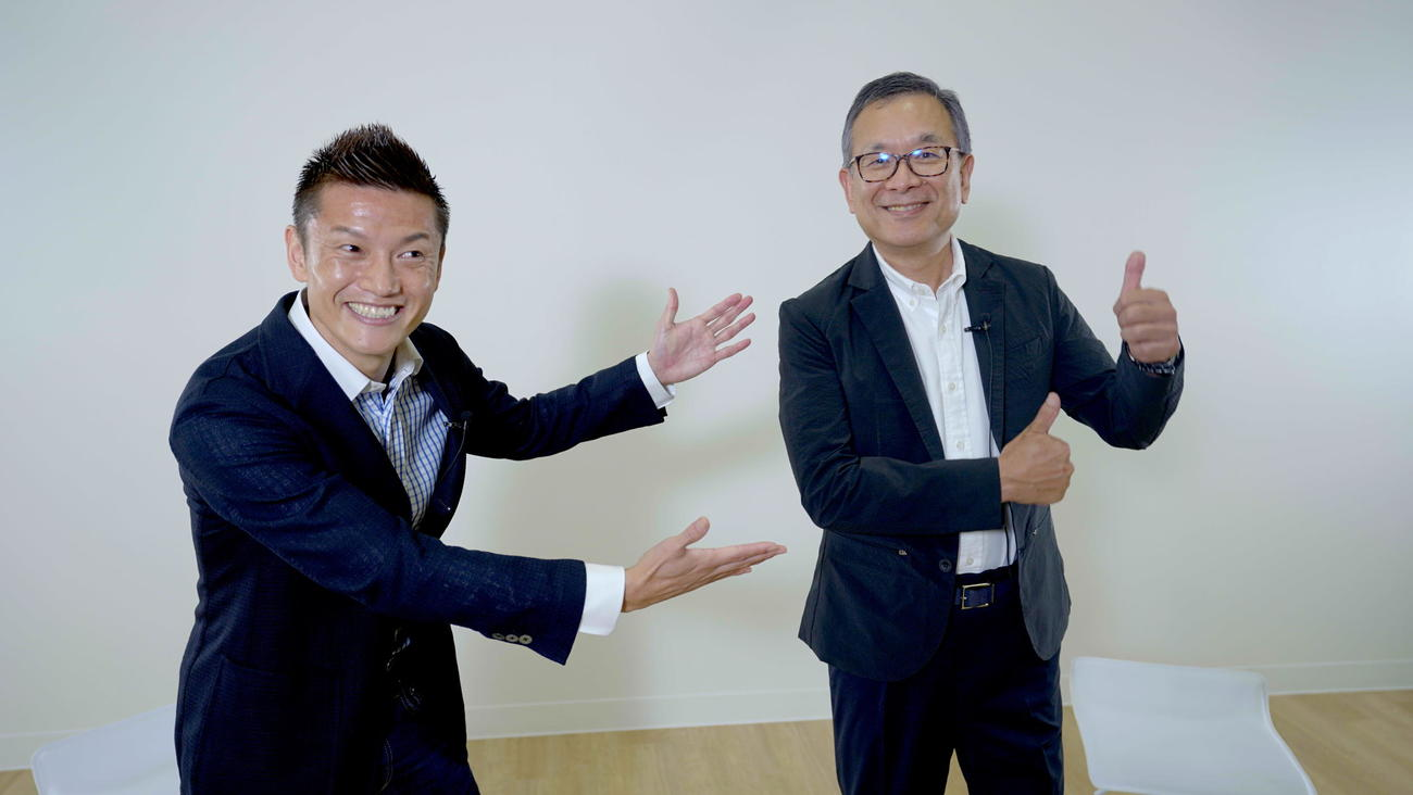 自身のユーチューブチャンネルを開設した播戸竜二氏(左)は村井チェアマンとの対談を実現させた