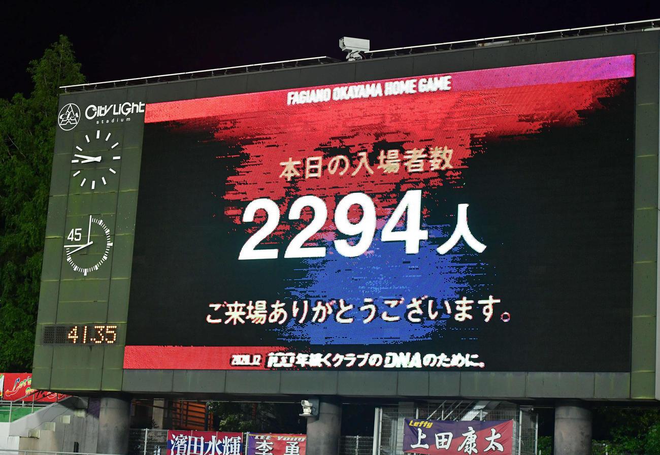 J2岡山対北九州 この日の入場者数は2294人(撮影・岩下翔太)