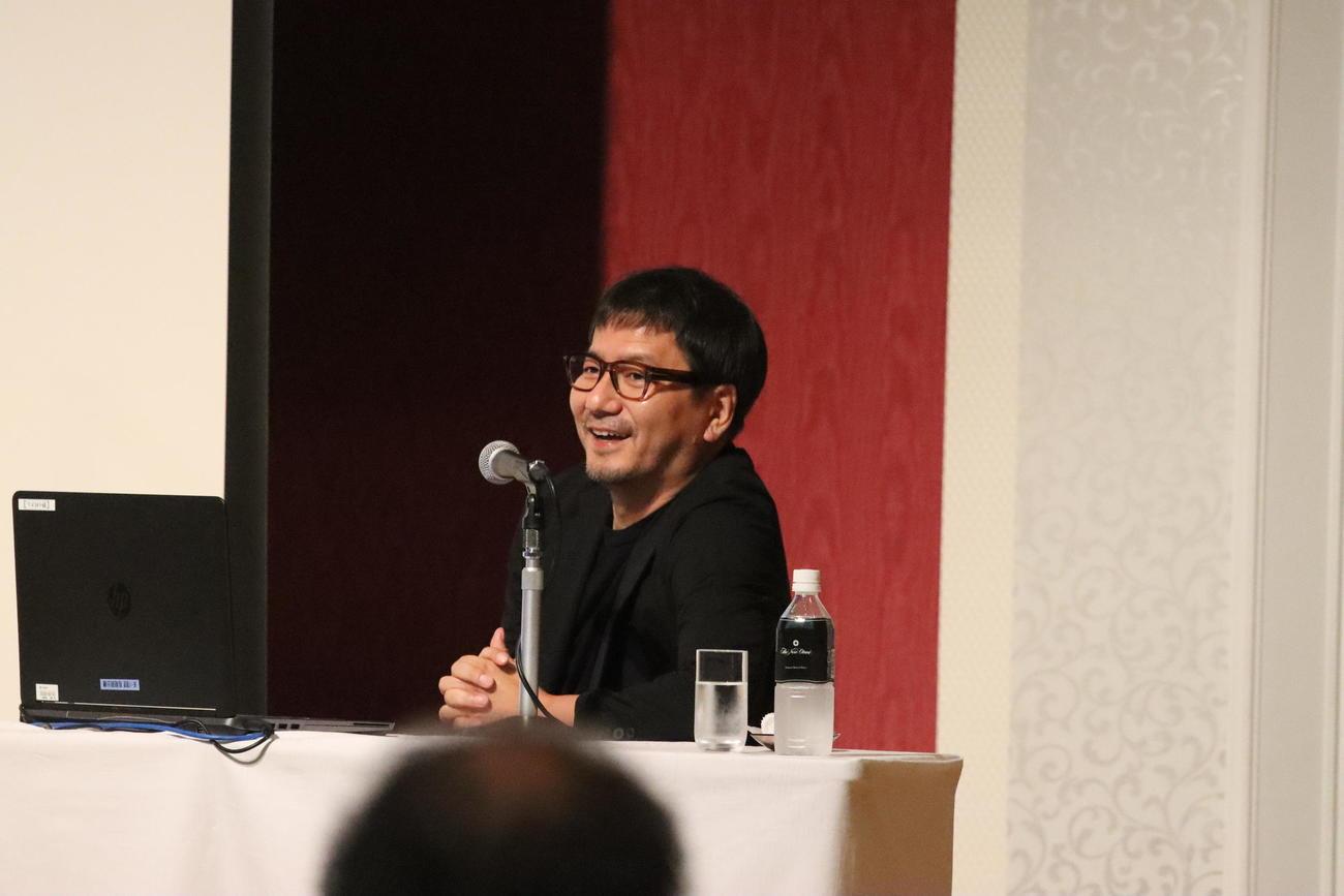 イベント「NextSportsMeeting」に出演した札幌の野々村社長(撮影・保坂果那)