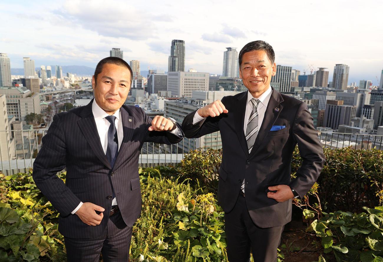 新シーズンに向け対談を行ったC大阪の森島寛晃社長(左)とG大阪の小野忠史社長(撮影・清水貴仁)