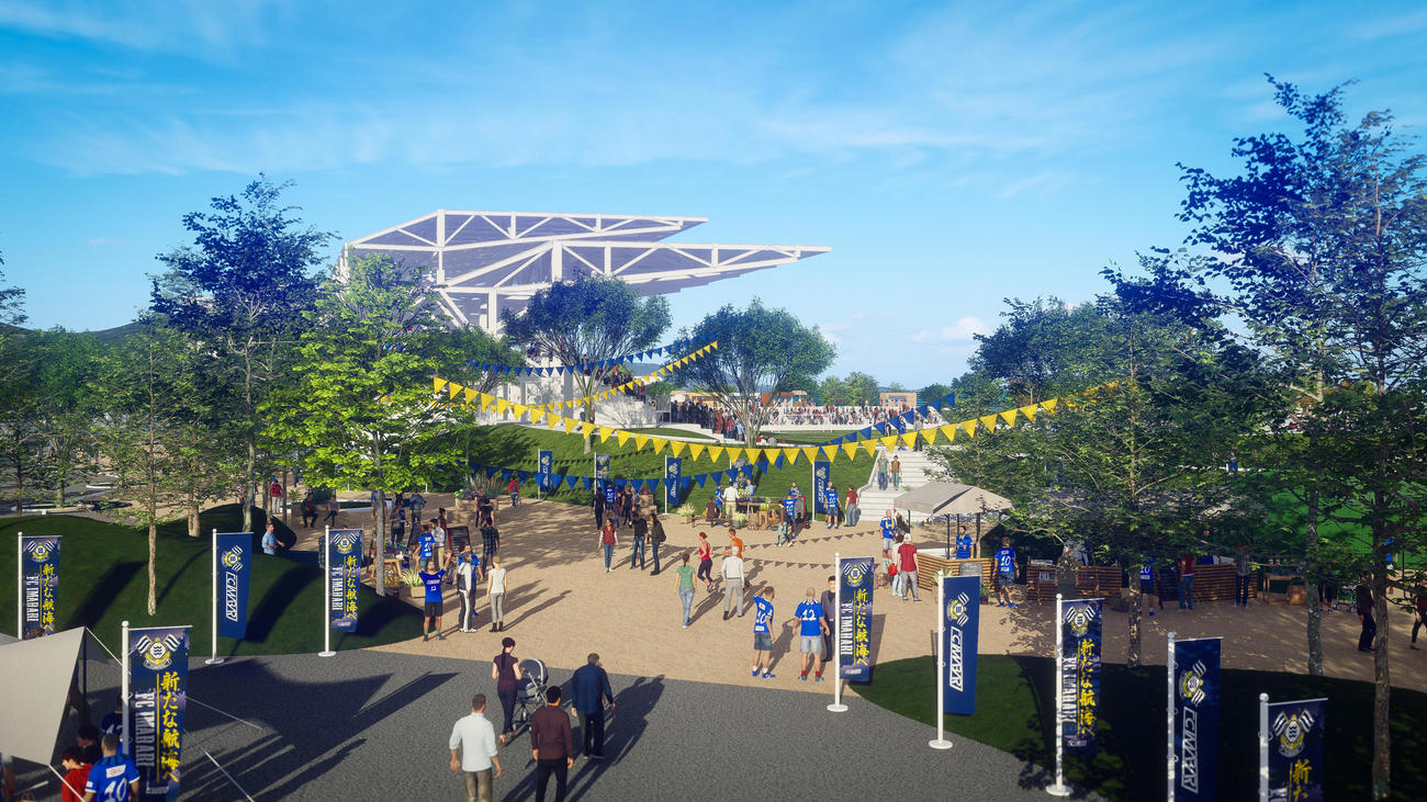 J3今治が2023年の開業を目指す「里山スタジアム」イメージ図(提供:FC今治)