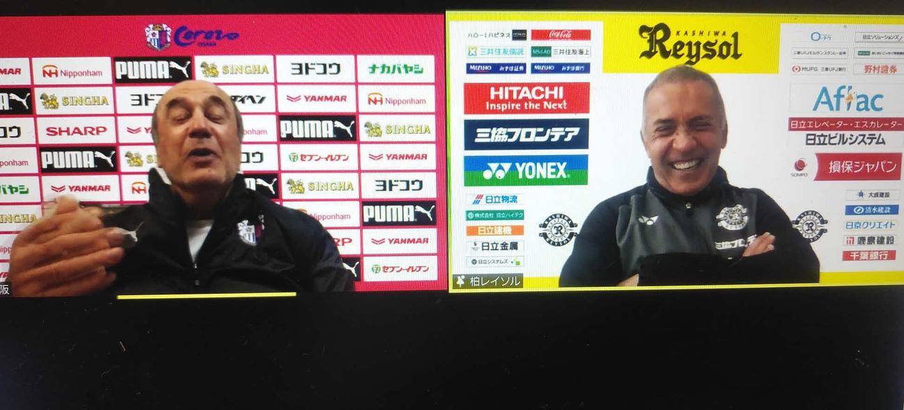 開幕戦で対戦するC大阪のレビークルピ監督(左)と柏のネルシーニョ監督は笑顔で談笑