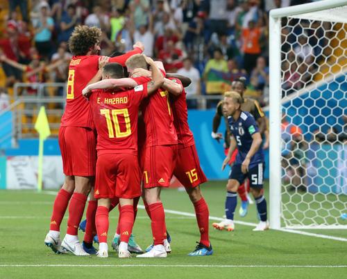 日本対ベルギー 後半、決勝ゴールを決め喜ぶベルギーの選手(撮影・PNP)