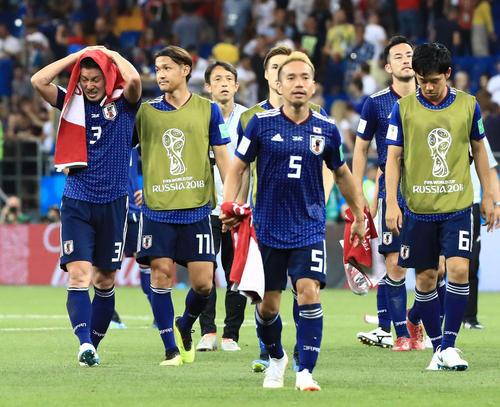 日本対ベルギー ベルギーに敗れ涙する昌子(左端)(撮影・江口和貴)