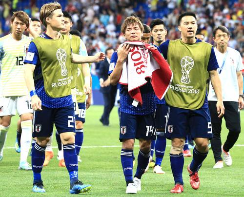 日本対ベルギー ベルギーに敗れ涙する乾貴士(中央)