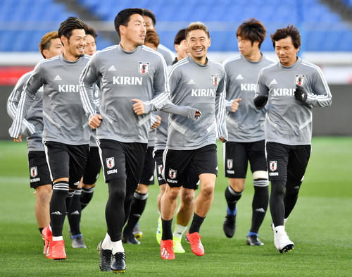 日本代表の選手ら(2019年3月21日撮影)