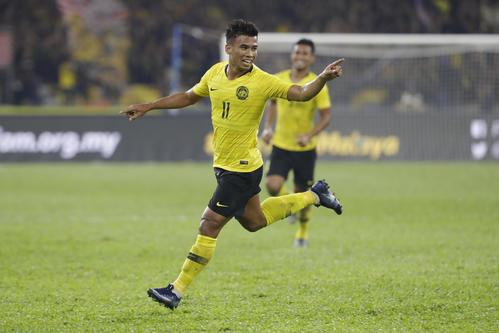 インドネシア戦で得点を挙げたマレーシアFWラシド(AP)