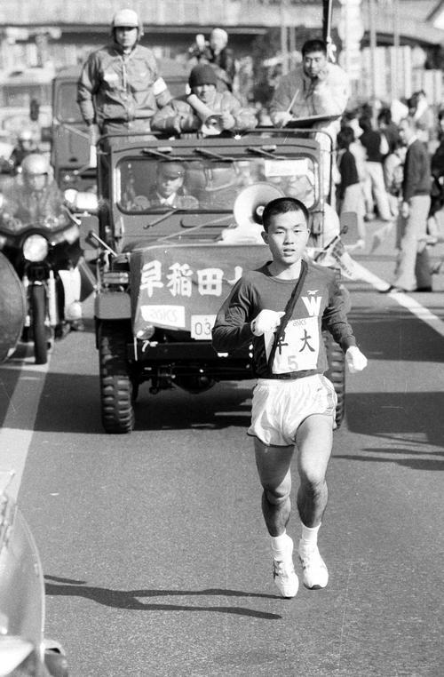 第60回箱根駅伝 快走する早大・木下哲彦(1984年1月2日)
