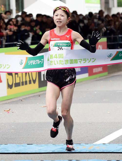 日本人1位の今田は、ゴールに必死の表情で走り込むも、MGC出場タイムに35秒及ばず出場権を逃す(撮影・浅見桂子)