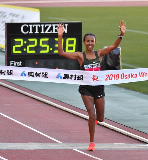 大阪国際女子マラソンを優勝したファツマ・サド(撮影・上田博志)
