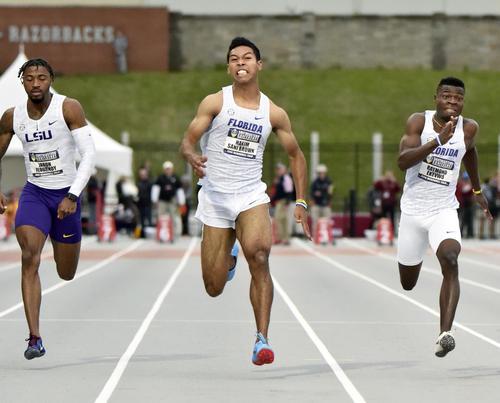 陸上の米大学南東地区選手権男子100メートルで9秒99をマークしたサニブラウン(共同)
