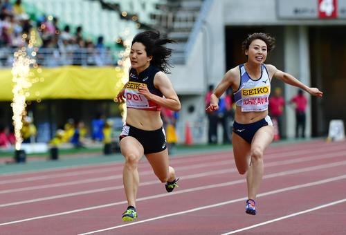 女子100メートル 11秒72で5位となる土井杏南(左)と11秒94で6位の市川華菜(撮影・清水貴仁)