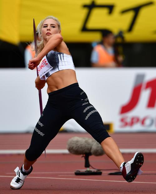 女子やり投げ 59メートル74の記録で3位となるリトアニアのリベタ・ヤシウナイテ(撮影・清水貴仁)